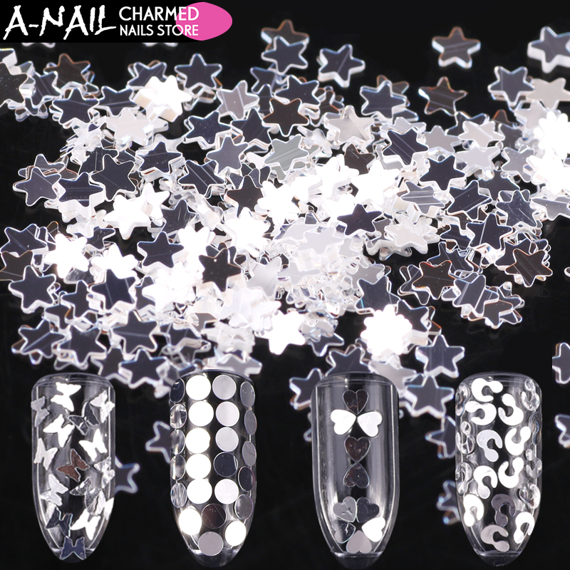 12 jars/set Silver nail sequins 12 different shapes design Ultra thin Nail Glitter Paillette Tips 3D nail art decorations tools blueness 10pcs 3d nail art rhinestone decoration glitter nails tips silver crown charm jewelry nail studs tools wholesales tn550