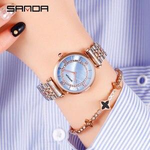 Image 2 - 2019 Yeni Sanda Izle kadın Su Geçirmez Gül Altın Çelik Moda Trendi kadın Izle Kore Marka quartz saat