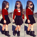 Baby Kids Girls Lace Red Floral Long Sleeve O-neck Tops+Solid Black Skirt Clothes Set 2pcs Sets Outfits Suits 2-11Y