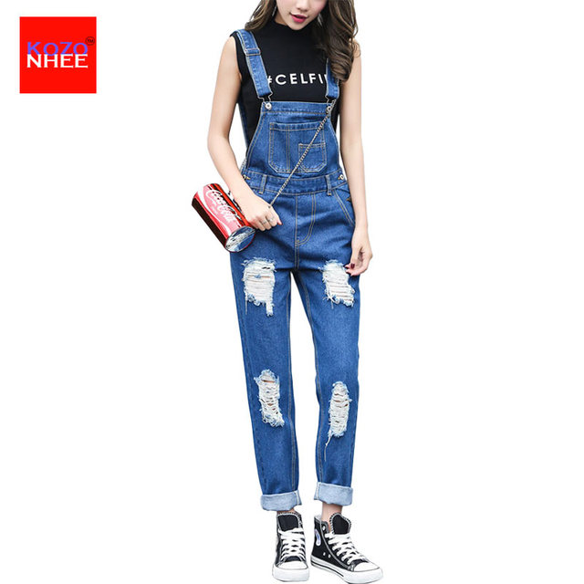 6fa5b8836e7 Losse Gaten Ripped Overalls Jeans Voor Vrouwen Denim Rompertjes Womens  Jumpsuit Gescheurd Overalls Vrouwen Jumpsuits En