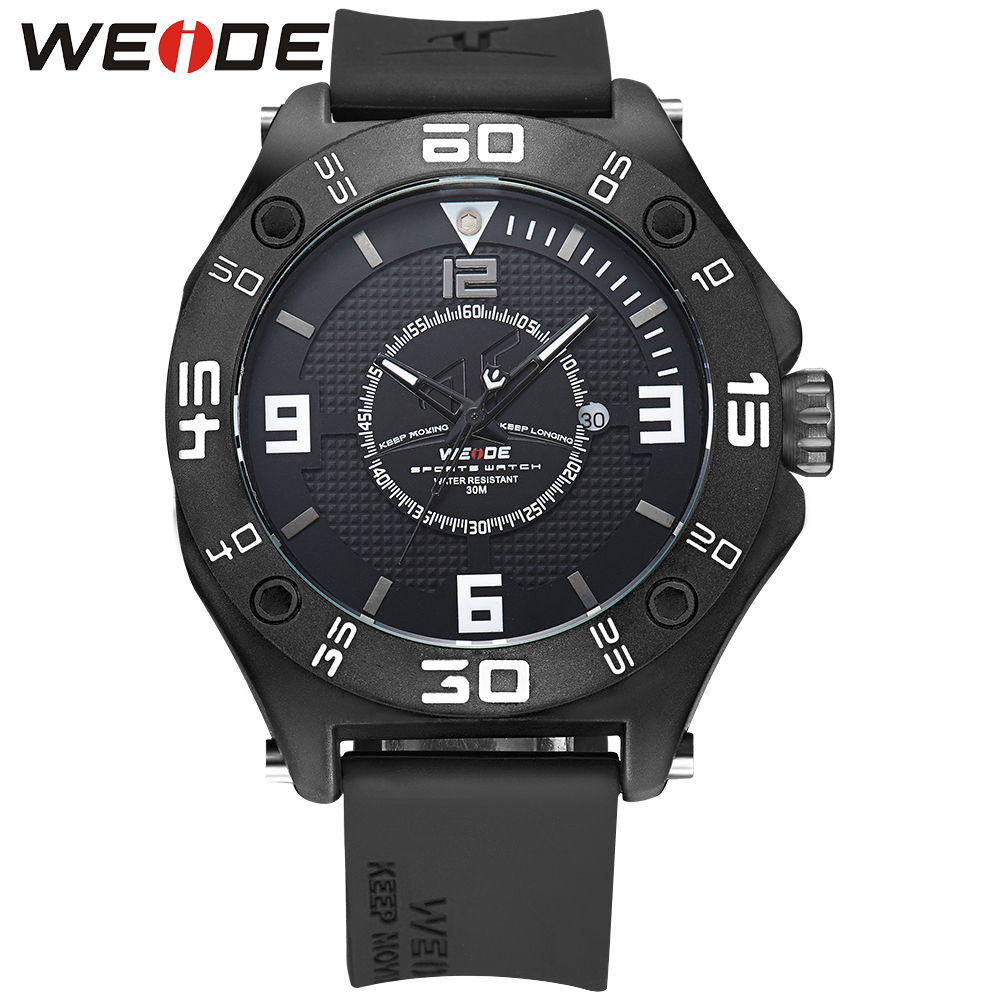 WEIDE Men Sport Black BWatches Calendar Date Day Quartz Movement Silicone Strap Buckle Water Resistant Wristwatches weide men watches clock analog quartz movement calendar date black leather strap band buckle hardlex wristwatches for sport