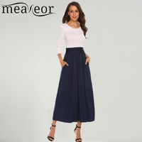 Meaneor Women Dresses Fashion O Neck 3 4 Sleeve Patchwork Pleated Long Maxi Dresses Winter Bottom
