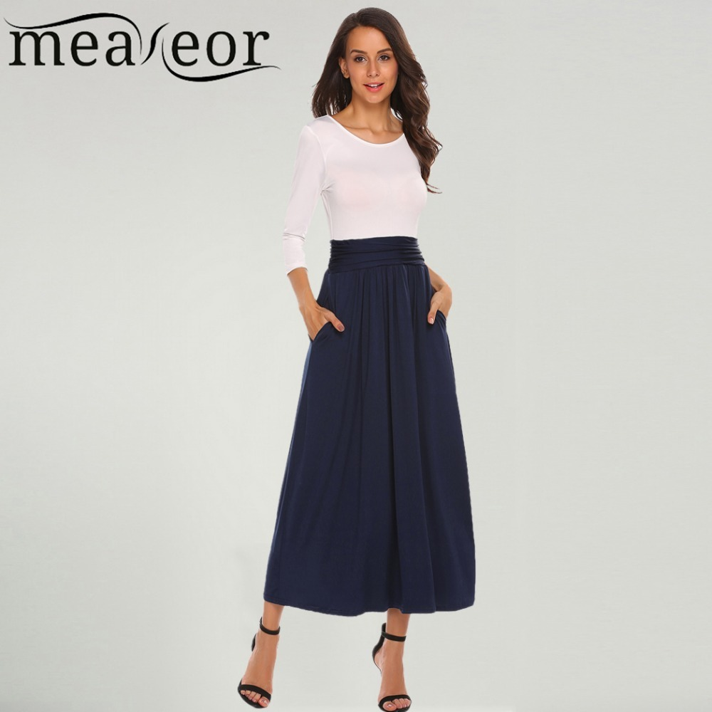 Meaneor Women Dresses Fashion O Neck  Sleeve Patchwork Pleated Long Maxi