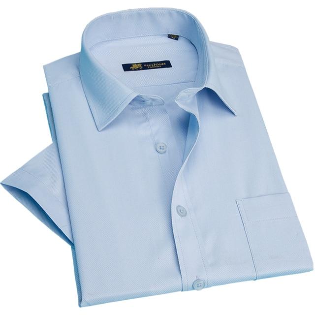 New 2019 Mùa Hè ngắn tay áo twill rắn sọc cũng phù hợp kinh doanh cổ điển mens sơ mi fromal nam đứng đầu 16 màu S ~ 5xl