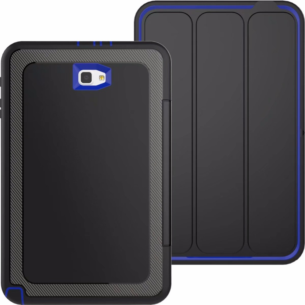 For SM-T580 Case For Samsung Galaxy Tab A 10.1 2016 T580 T585 Kids Safe Shockproof TPU Cover Armor Hybrid 360 full protection metal ring holder combo phone bag luxury shockproof case for samsung galaxy note 8
