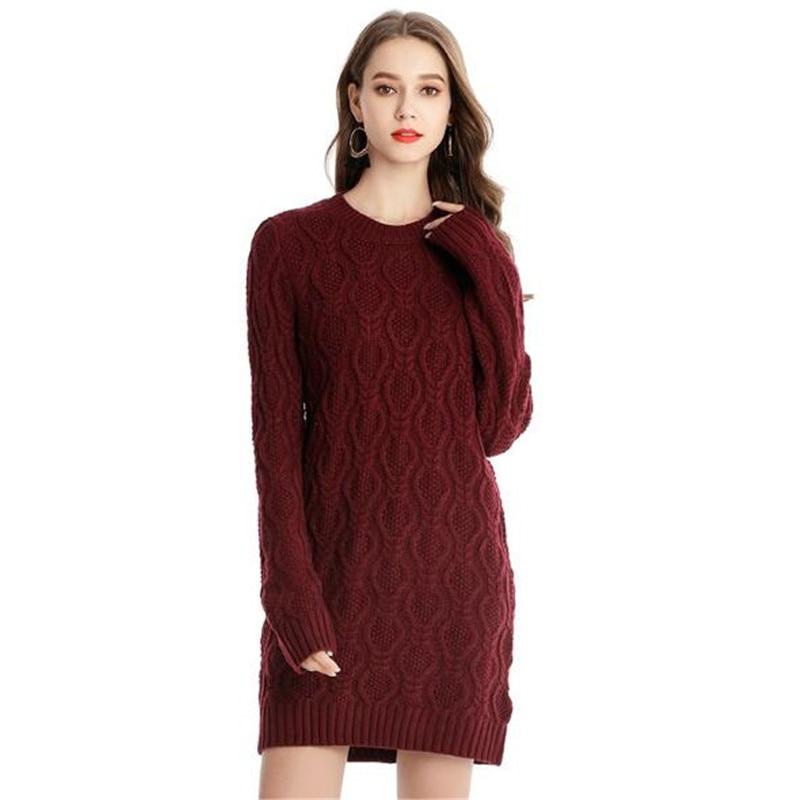 WKOUD Women New Knitted Mini Dresses Fashion Long Sleeve Candy Colors Dress Slim O-neck Vestidos High Waist Sweater H1127