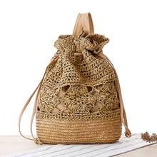 Ручной работы мини-рюкзак высокое качество Соломенная Сумка повседневная элегантный дизайн для девочек Путешествия Пляжная сумка рюкзак Mochila Escolar