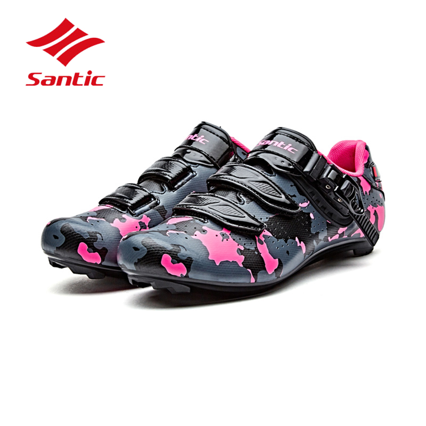 все цены на Santic Cycling Shoes Road Men Bike Lock Shoes 2018 Pro Racing PU Self-Locking Bicycle Shoes Athletic Sneakers Sapatilha Ciclismo онлайн