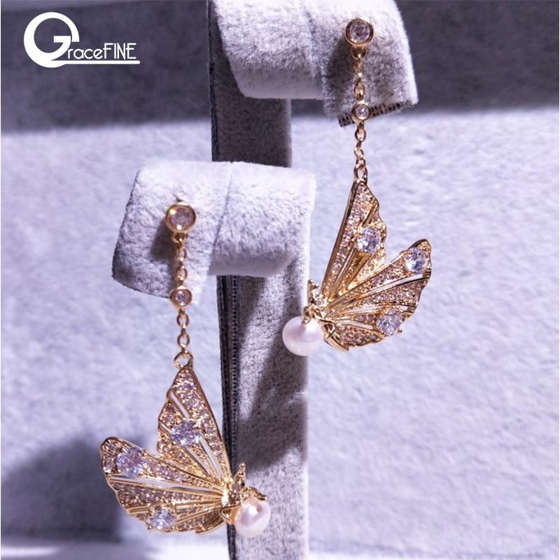 100% Genuine Freshwater Pearl Engagement Classic Elegant Drop Earrings Gold Earrings Special Natural Pearls Butterfly Earrings
