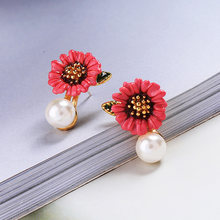 Trendy Simulated Pearl Dangle Earring For Women 3 Color Flower Removable Asymmetry Drop Earring Party Accessories In Box(China)