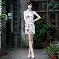 DGJRSTER Chinese traditional clothing embroidery Cheongsam Mermaid Wedding Dresses Short Sleeve cheongsam Free shipping