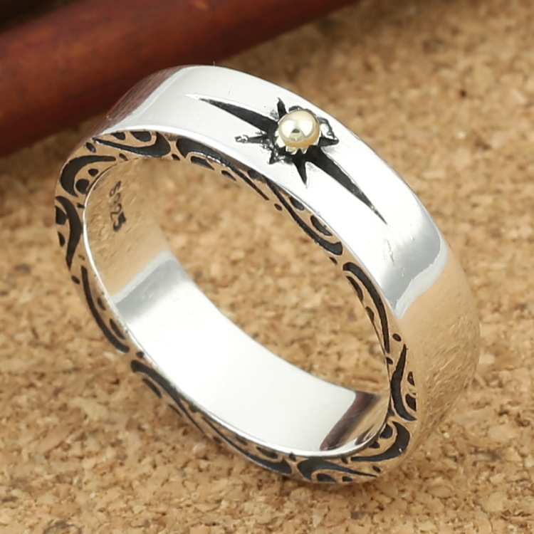 Wholesale S925 Sterling Silver Ring retro gold sun ray ring on both sides of the Thai men and women stone ring