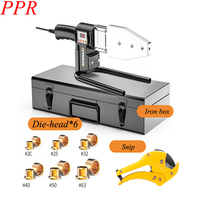 6Pcs PPR PE PB Tube Welded Pipe Welding Machine 220V Automatic Electric Welding Tools+ Heads+ Stand+Tool Box 63 Type