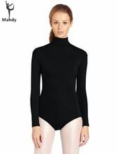 Plus Size Adulto Lycra de Nylon Preto Mulheres Gola Alta Manga Longa Ginástica Collant Meninas Ballet Dança Collant Trajes