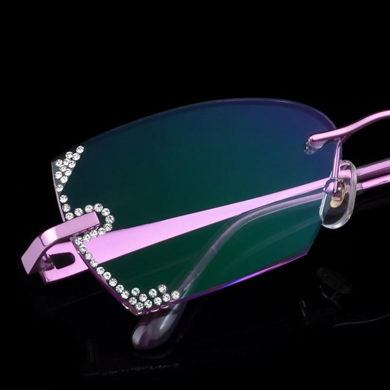 高級眼鏡リムレス女性近視処方眼鏡眼鏡視度ラインストーンハイクリアレンズゴールドレディース読書眼鏡