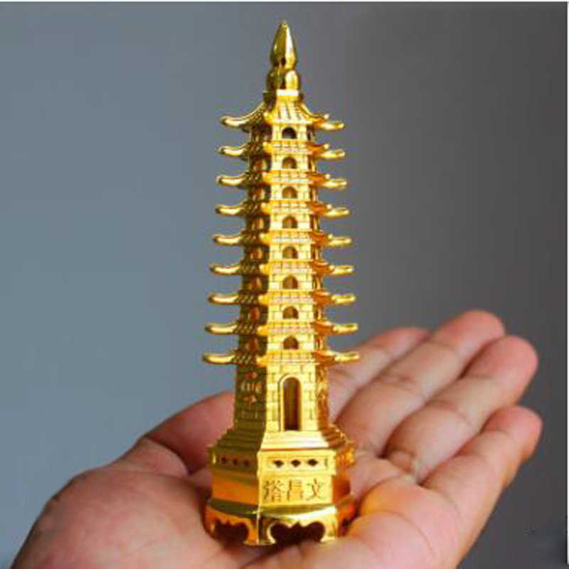 China Wenchang Pagoda Tower Feng Shui Alloy 3D Model Crafts Statue Souvenir Home Decoration Metal Handicraft Decoration Gift