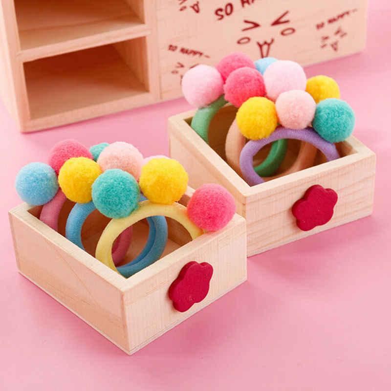 1/2/5/10 Pcs Cute Little Girls' Pompom Hair Ties Three Pom Pom Elastic Hair Band Hair Ropes Hair Accessories