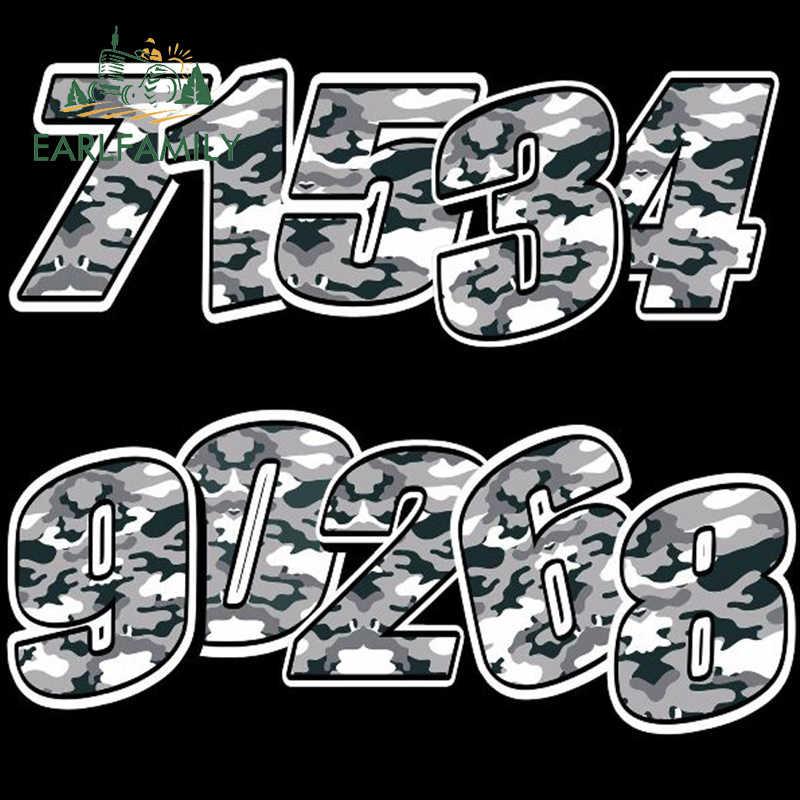 EARLFAMILY 13 cm x 10 cm Xe Styling Racing Số Vinyl NGỤY TRANG MÀU XÁM Dán Motocross Xe Decal Moto Tự Động ATV XE ĐẠP Trang Trí Nội Thất