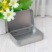 Delicate Small Metal Tin Silver Flip Storage Box Case Organi