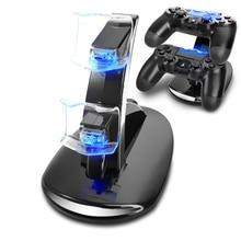 PS4 Accessories جويستيك PS4 شاحن بلاي ستيشن 4 المزدوج المصغّر usb محطة شحن حامل لسوني بلاي ستيشن 4 PS4 المراقب المالي