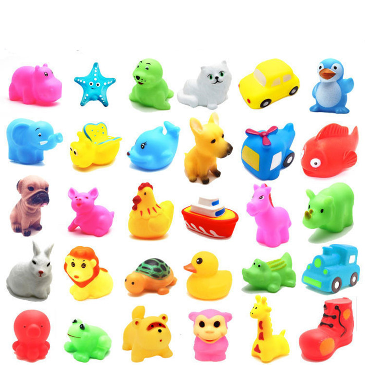 26 style Cute Soft Rubber many animals Duck Float Squeeze Sound Baby Wash Bath Toys Play Kids 13pcs lovely mixed colorful rubber can float on water and sound when squeeze you squeaky bathing toys for children bath duck