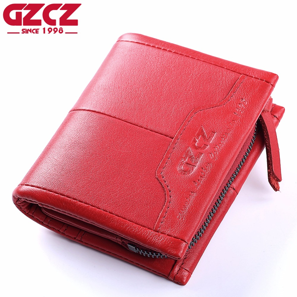GZCZ Genuine Leather Women Wallet Female Zipper Small Walet Clamp For Money Coin Purse Card Holder Portomonee Mini Purse Rfid contact s genuine leather vintage men wallets coin purse card holder small wallet portomonee male clutch zipper clamp for money