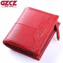 GZCZ Genuine Leather Women Wallet Female Zipper Small Walet