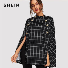 4b0332e1f3 SHEIN Black Highstreet Office Lady Double Button Mock Poncho Solid Elegant  Coat 2018 Autumn Women Workwear Outerwear Clothes