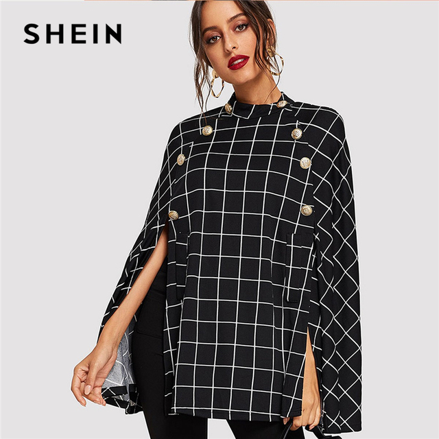 65ec29ad05 SHEIN Black Highstreet Office Lady Double Button Mock Poncho Solid Elegant  Coat 2018 Autumn Women Workwear Outerwear Clothes