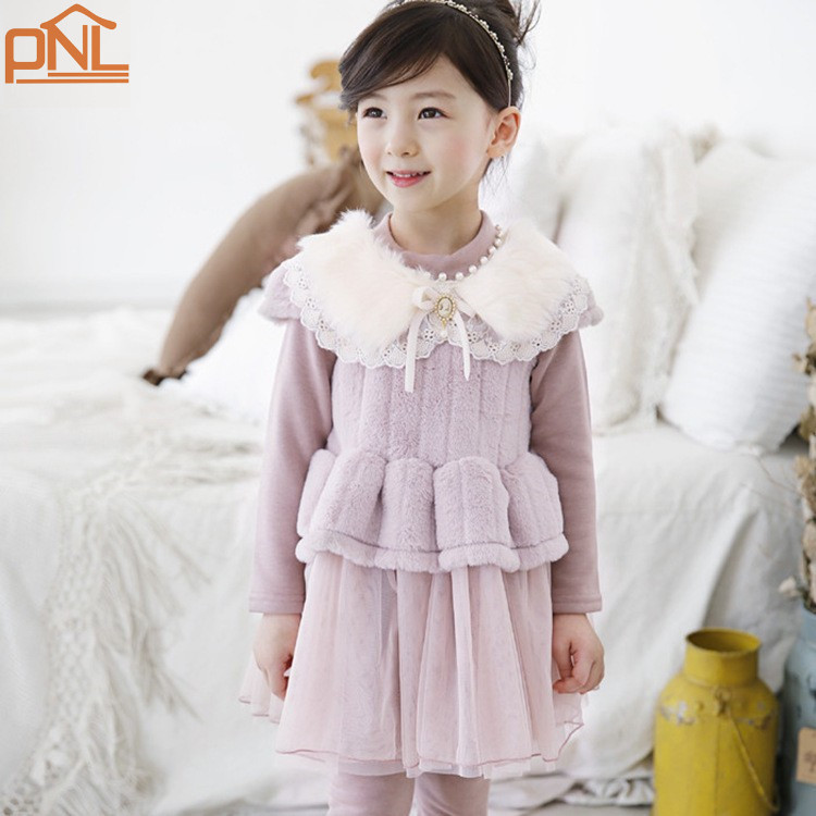 Winter Girls Birthday Party  2 color Dresses Princess Children Clothes For Kids Clothing Girl Dress