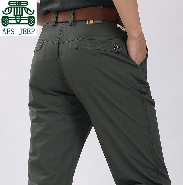 Afs JEEP homens verde de cintura de verão de algodão calça reta, Verdadeiro homem de marca calças