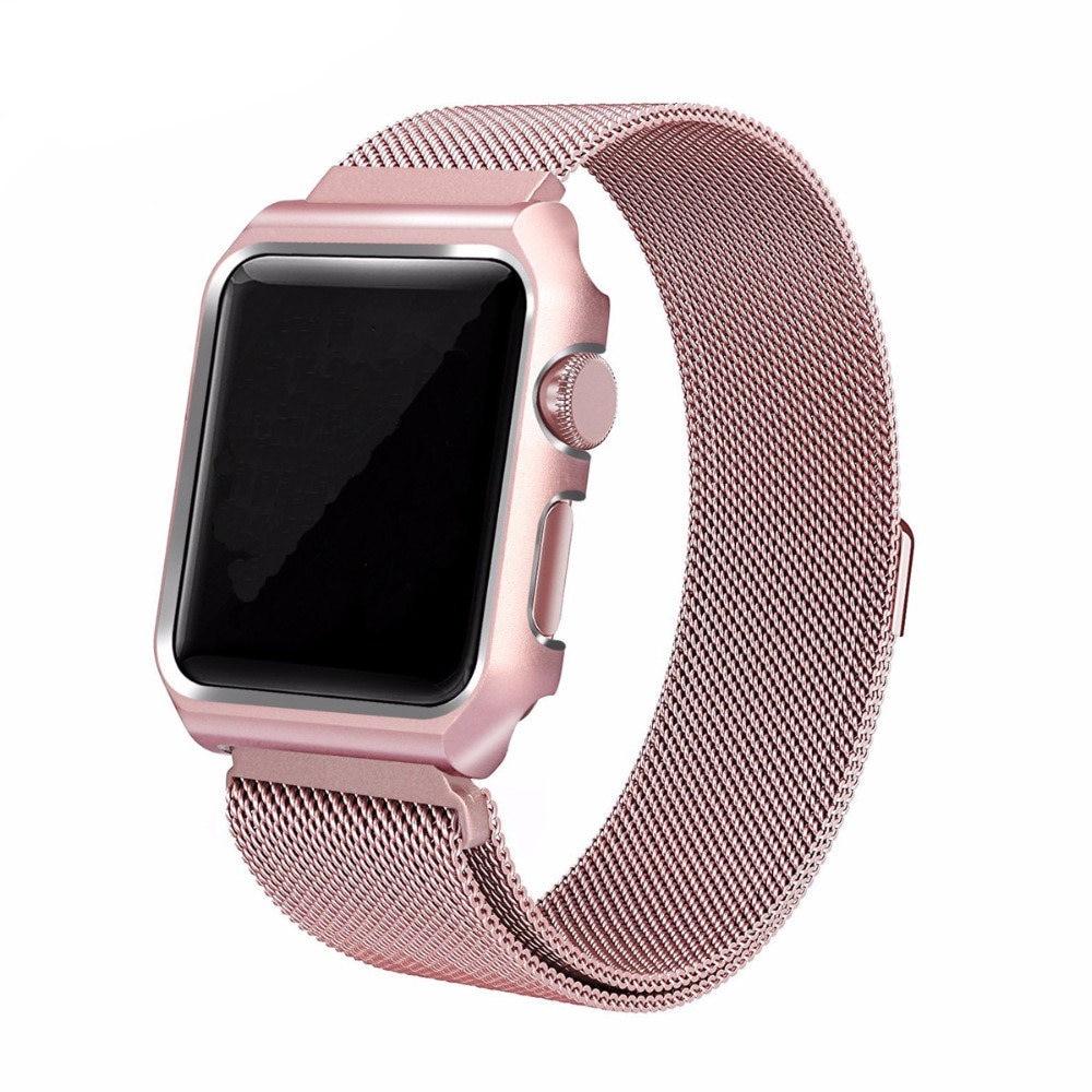 Milanese Loop band +case For Apple Watch 42mm/38mm 3/2/1 strap metal bracelet wrist belt for iwatch clock watchband все цены