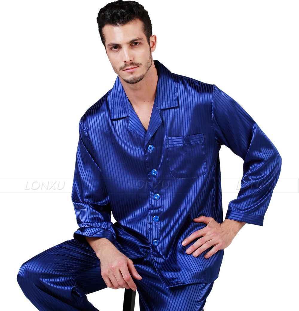 f0253cec51d43 Мужские шелковые атласные пижамы комплект пижамы Пижамный набор Loungewear  S ~ 4XL Большой и высокий
