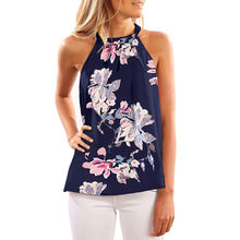 Women's Clothing Women Fashion Sleeveless Halter Neck Floral Print Tank Top Casual Flower Printing Blouse chiffon top sleeveless(China)