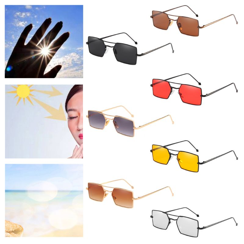 Women's Sunglasses Sunny 1pc Fashion Metal Frame Small Uv400 Driving Unisex Men Sun Glasses Eyewear Rectangle Sunglasses Women Girls Gifts To Have A Long Historical Standing Apparel Accessories