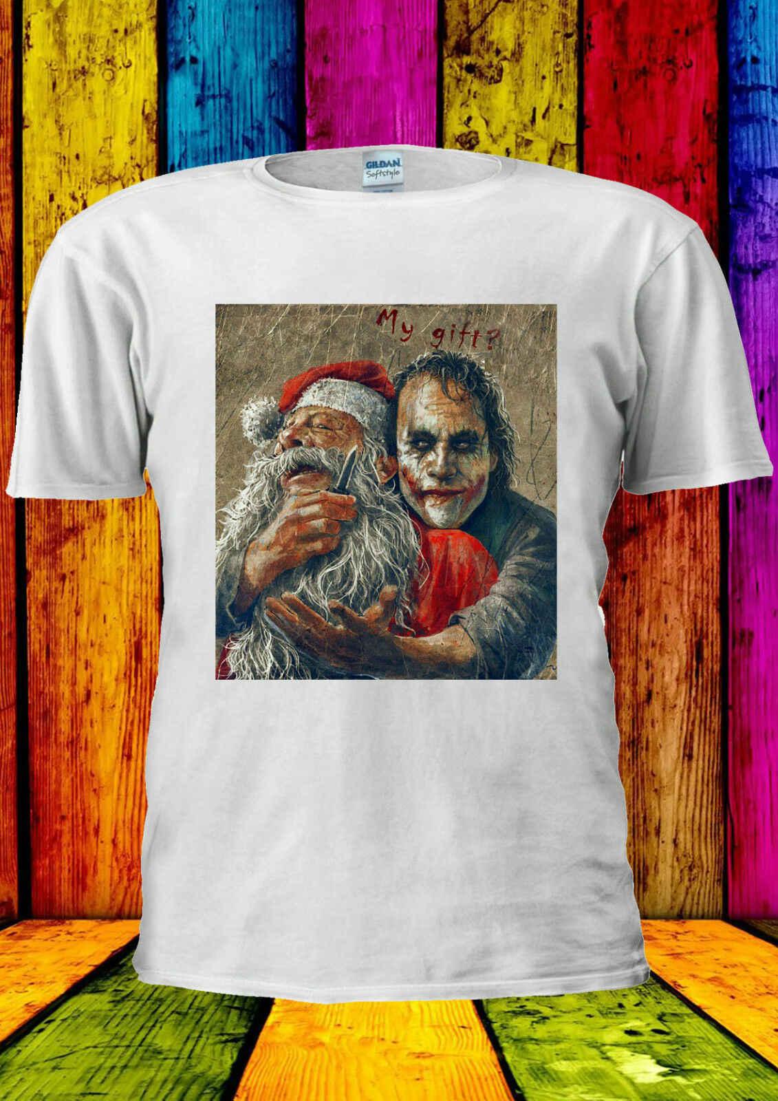 Джокер Хит Леджер Санта Клаус футболка для мужчин и женщин унисекс 2253 Повседневная принтованная футболка, хип хоп забавная футболка