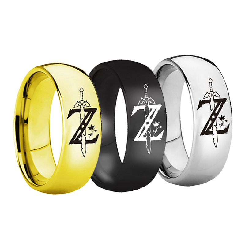 Hot Game The <font><b>Legend</b></font> <font><b>of</b></font> <font><b>Zelda</b></font> Sword <font><b>Rings</b></font> Fashion 316L Stainless steel <font><b>Ring</b></font> 3 colors Black Gold Sliver <font><b>Ring</b></font> Dropshipping image