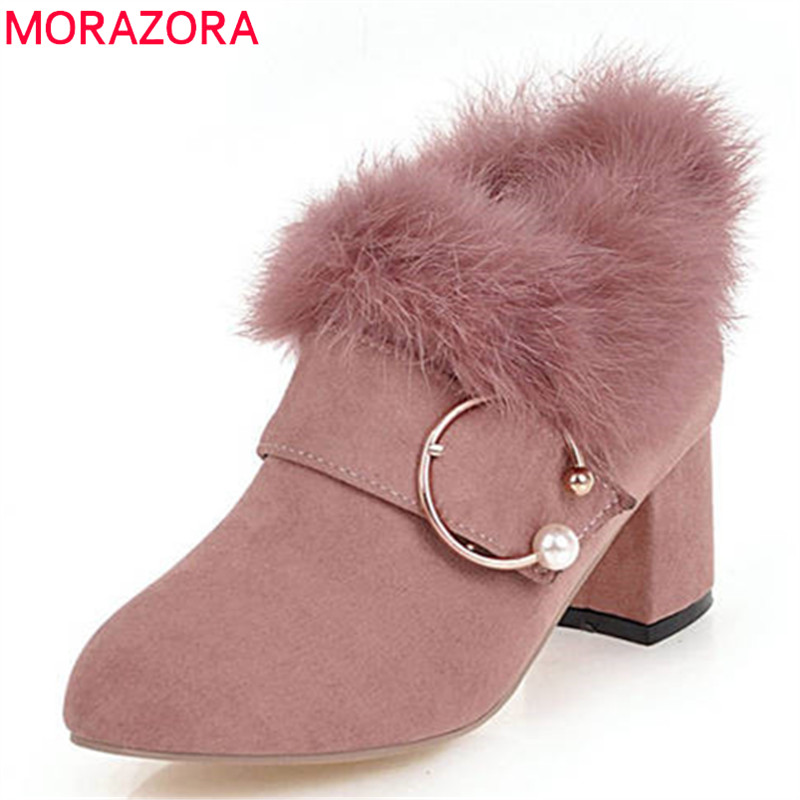 MORAZORA 2018 new arrival ankle boots for women flock round toe autumn winter boots zip fashion square high heels shoes woman MORAZORA 2018 new arrival ankle boots for women flock round toe autumn winter boots zip fashion square high heels shoes woman