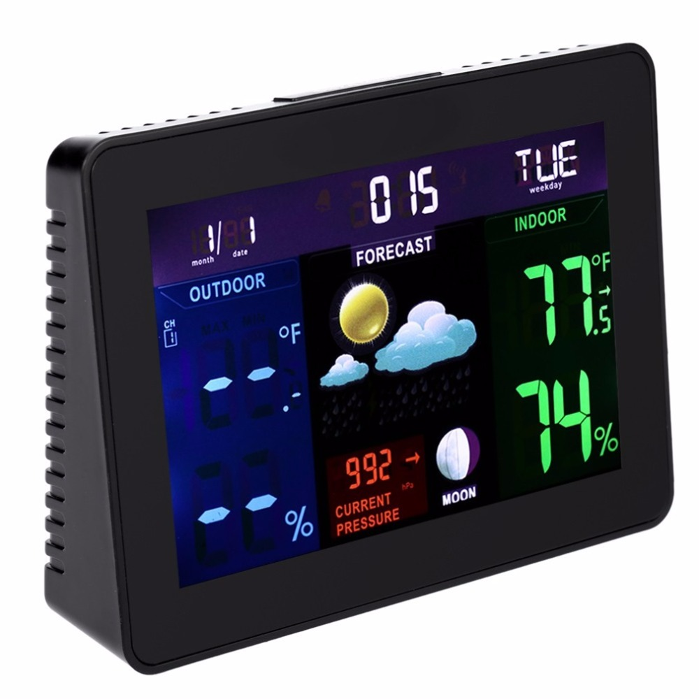 2017 TS-70 Digital LCD Screen Display Wireless Indoor Outdoor Weather Clock Weather Station Tester Alarm Clock  Top Sale leap pq9903a digital chess clock with lcd display