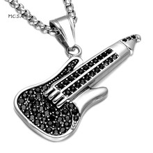 MCSAYS Hip Hop Stainless Steel Jewelry Music Guitar Pendant 60cm Round Box Chain Music Necklace Mens Fashion Accessories 3MJ