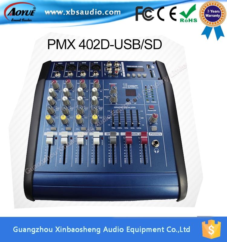 [On Promotion] 16-bit digital effect PMX402D pmx power audio mixer prices built in amplifier nux pmx 2 multi channel mini mixer 30