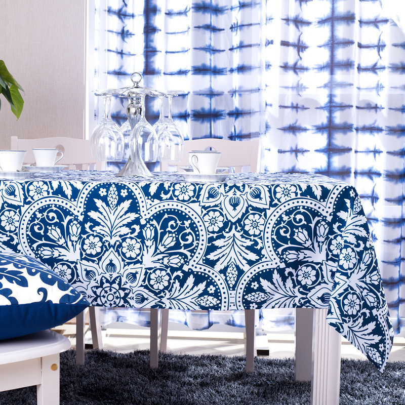 Blue Mediterranean Tablecloth 100% Polyester Floral Printing Table Covers Rectangle Dustproof Home Restaurant Tables Decor Cloth
