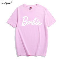 94fad99b9 kawaii Barbie sweet College style women t-shirt 2018 summer hot sale cute t  shirt 100% cotton fashion casual slim fit top tees