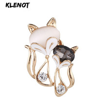 Sexy Fox Rhinestone Pins and Brooches Women Mom Animal Fox Brooch Pins Opal Cat's Eye Brooch Valentine's Day Love Couple Jewelry цена в Москве и Питере