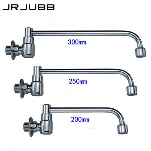 Semi Automatic Kitchen Faucet Brass Kitchen Sink Tap Single Cold Water Wall  Mounted Outlet Pipe