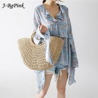 J Bg Pink Summer Beach Bag Hand Woven Straw Bags Fashion Women Casual Tote Large Capacity Shopping Bags Women Handbags New 2018