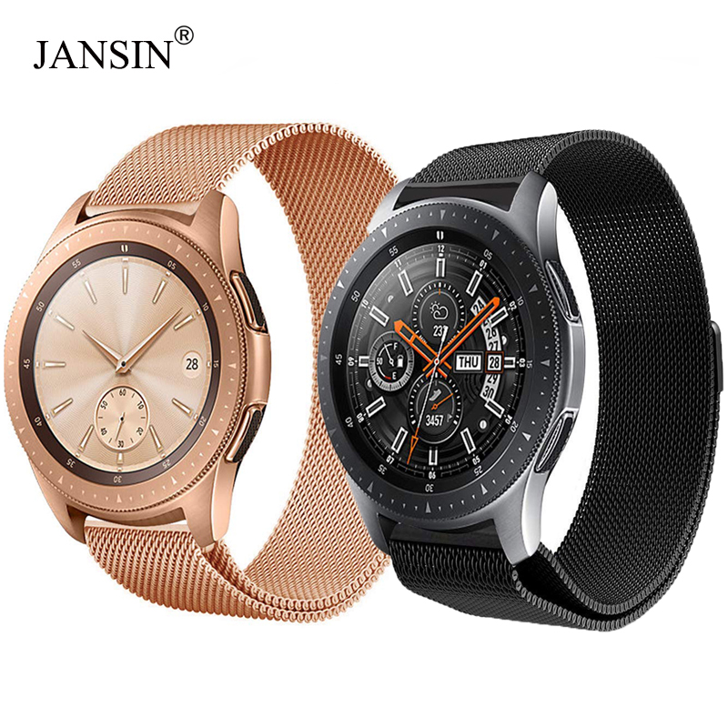 JANSIN 20mm 22mm Milanese Loop Stainless Steel Watch band for Samsung Galaxy 42mm 46mm Watch Metal Band Magnetic Adjustable milanese magnetic loop stainless steel band for moto 360 2nd smart watch sliver 42mm