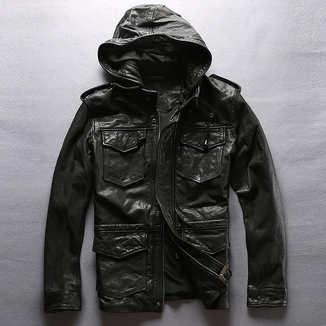 0b500614d99 Мужская кожаная куртка с капюшоном
