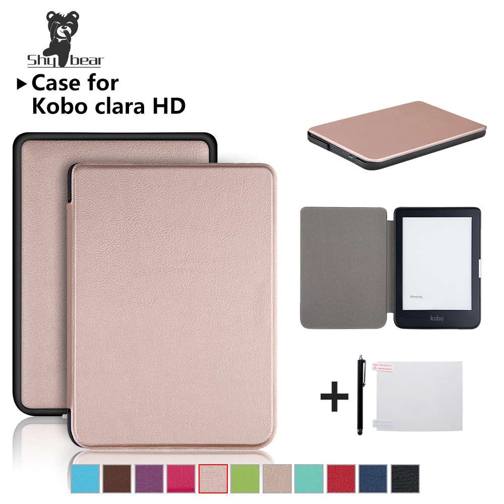 Case For New Kobo Clara HD 6 Inch PU Ultra Thin Leather Ereader Smart Cover Case Auto Wake/Sleeping +free Gift