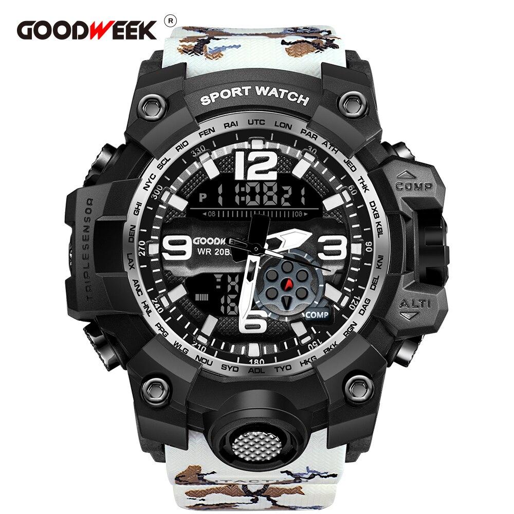 GOODWEEK Sport-Watch Shock Dual-Display Military Waterproof Camouflage G-Style Resitant